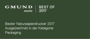 DruckArt Druckerei Gmund Award Auszeichnung bester Naturpapierdrucker 2017 Kategorie Packaging